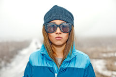 Beautiful Girl In Sunglasses In A Winter Royalty Free Stock Photography