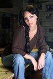 Beautiful Girl In The Bar Stock Photography