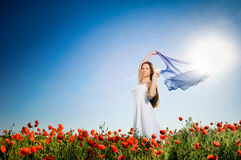 Free Beautiful Girl In The Poppy Field Royalty Free Stock Images - 9866069