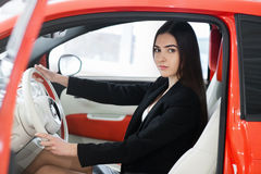 Beautiful girl inside the car royalty free stock images