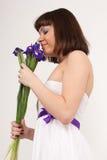 Beautiful girl with Irises Royalty Free Stock Photos