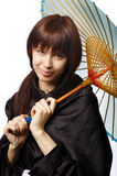 Beautiful girl with japan umbrella Royalty Free Stock Photos