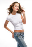 The beautiful girl in jeans Stock Photos