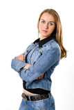 The beautiful girl in a jeans jacket. On a white background royalty free stock images