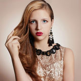 Beautiful girl with jewelry Royalty Free Stock Images