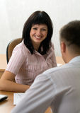 Beautiful girl at a job interview Royalty Free Stock Images