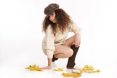 Beautiful girl in a jumper and hat Royalty Free Stock Photo