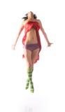 Beautiful girl in jumping Royalty Free Stock Photos