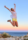 Beautiful Girl Jumping Stock Images