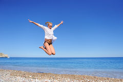 Beautiful Girl Jumping Royalty Free Stock Photography