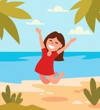 Beautiful girl jumping happy on tropical beach. Vector Royalty Free Stock Photography