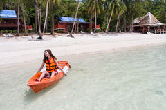 Beautiful Girl With Kayak Paddle  Travel and Vacation on The Bea Stock Photography