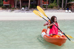 Beautiful Girl With Kayak Paddle  Travel and Vacation on The Bea Stock Photos