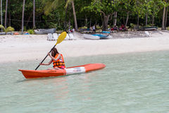 Beautiful Girl With Kayak Paddle  Travel and Vacation on The Bea Stock Images