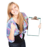 Beautiful girl keeping blank clipboard Royalty Free Stock Images