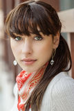 Beautiful girl with kerchief on neck Royalty Free Stock Images