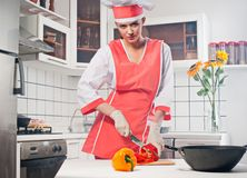Beautiful girl in the kitchen. Stock Photos