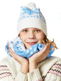 Beautiful girl in knit sweaters, scarves and hats isolated Royalty Free Stock Image