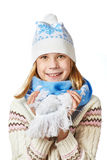 Beautiful girl in knit sweaters, scarves and hats isolated Royalty Free Stock Photo