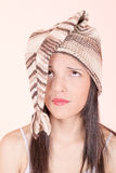 Beautiful Girl in Knitted Peruvian Hat. Photo of a Beautiful Girl in Knitted Peruvian Hat royalty free stock photos