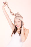 Beautiful Girl in Knitted Peruvian Hat. Photo of a Beautiful Girl in Knitted Peruvian Hat stock photos
