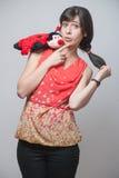 Beautiful girl with a ladybug Stock Photo