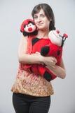 Beautiful girl with ladybugs Royalty Free Stock Image