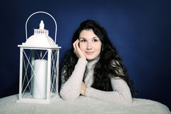 Beautiful girl with lantern Royalty Free Stock Photography