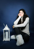 Beautiful girl with lantern Stock Images