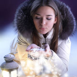 Beautiful girl with lantern Stock Photography