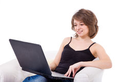 Beautiful girl with the laptop. Royalty Free Stock Photography