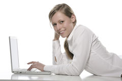 Beautiful Girl with Laptop Stock Image