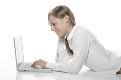 Beautiful Girl with Laptop Royalty Free Stock Photography