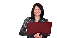 Beautiful girl with laptop Royalty Free Stock Image