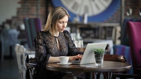 Beautiful girl with laptop. Young attractive female sitting at cafe and using laptop. stock video