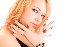 Beautiful girl with large nails Stock Photo