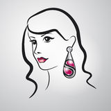 Beautiful girl. With a large silver ear-ring royalty free illustration