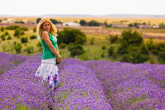 Beautiful girl on lavender field Royalty Free Stock Photography