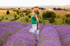 Beautiful girl on lavender field Royalty Free Stock Images
