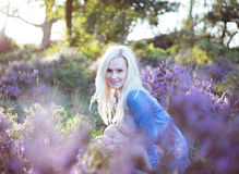 Beautiful girl on the lavender field Royalty Free Stock Images