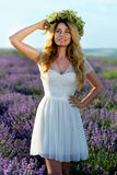 Beautiful Girl in lavender Field Royalty Free Stock Images