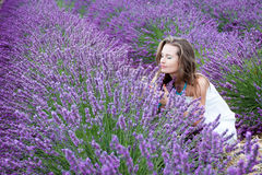 Beautiful girl in a lavender Royalty Free Stock Images