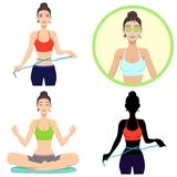 Young girl leads a healthy lifestyle. Beautiful girl leads a healthy lifestyle.Set of four illustrations Royalty Free Stock Photos