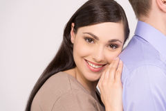 Beautiful girl leaning on man shoulder. Stock Image