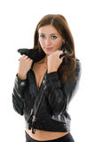 Beautiful girl in leather jacket Stock Image