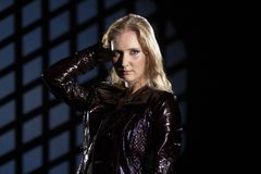 Beautiful girl in leather jacket Royalty Free Stock Image