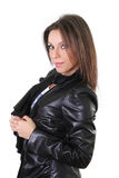 Beautiful girl in leather jacket Stock Photos