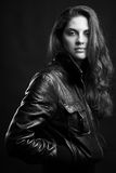 Beautiful girl in leather jacket Royalty Free Stock Images
