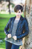 Beautiful Girl with Leather Jacket Royalty Free Stock Images