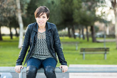 Beautiful Girl with Leather Jacket Stock Images